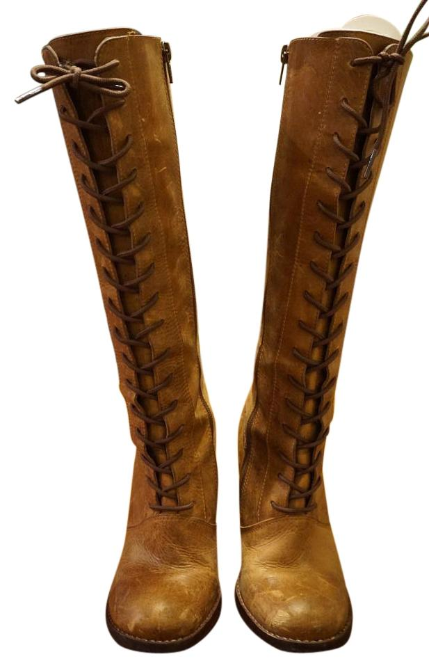9ae7216c37b4a Steve Madden Tan Clapton Distressed Oil Leather Riding Boots/Lace Up ...