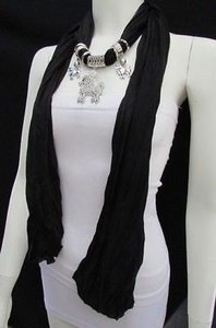 Other Women Fashion Black Fabric Scarf Long Necklace Rhinestone Poodle Dog Pendant