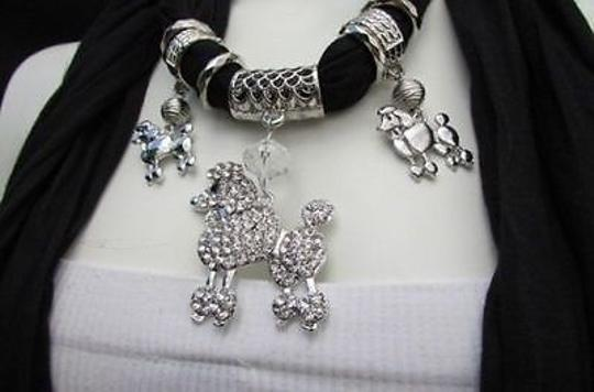 Other Women Black Fabric Scarf Long Necklace Rhinestone Poodle Dog