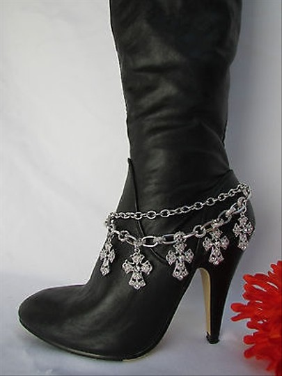 Other Women Silver Boot Anklet Chain Strap Metal Multi Crosses Western Shoe Charm 33