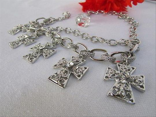 Other Women Silver Boot Anklet Chain Strap Metal Multi Crosses Western Shoe Charm 34