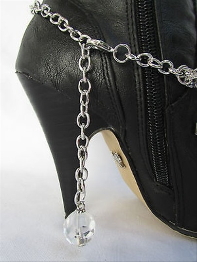 Other Women Silver Boot Anklet Chain Strap Metal Multi Crosses Western Shoe Charm 35