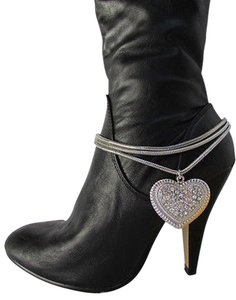 Women Silver Boot Anklet Chain Strap 3 Strands Metal Heart Western Shoe Charm37