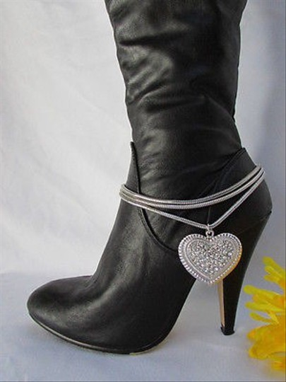 Other Women Silver Boot Anklet Chain Strap 3 Strands Metal Heart Western Shoe Charm37