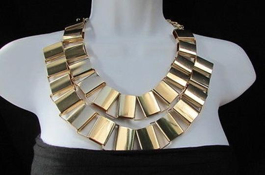 Other Women Fashion Necklace Gold Silver Metal Links Earrings Set