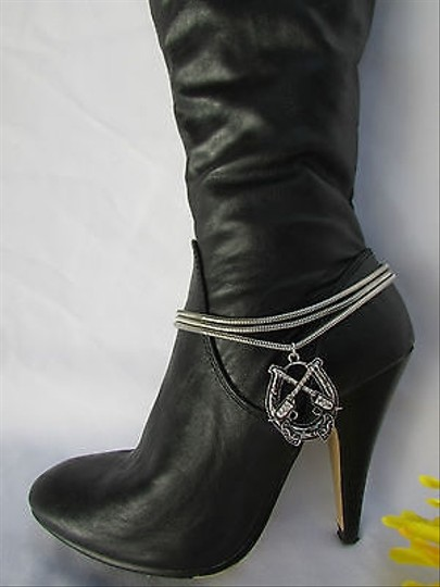 Other Women Silver Boot Anklet Chain Strap 3 Strands Metal Guns Western Shoe Charm 40