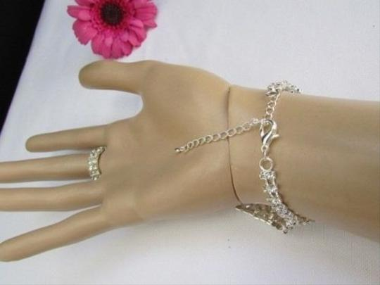 Other Women Silver Triangle Hand Chain Slave Rhinestones Bracelet Ring