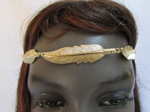 Women Big And Long Gold Metal Leaves Head Chain Elastic Band Fashion Jewelry