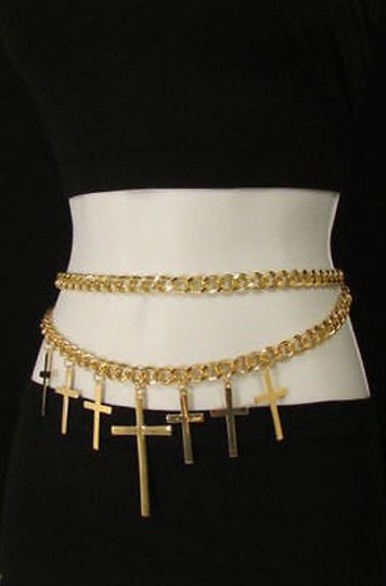 Other Women Gold Thick Metal Chains Belt Big Cross Charm Hip Waist Fashion