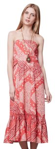 Red Maxi Dress by Anthropologie Bandana Holding Peplum Lacing Strapless
