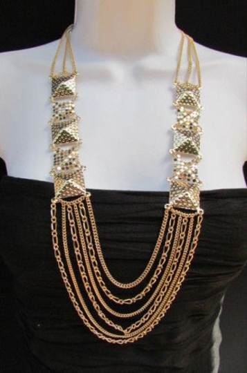 Preload https://item1.tradesy.com/images/women-fashion-necklace-gold-mesh-metal-multi-chains-strands-pyramid-17-drop-1930390-0-0.jpg?width=440&height=440