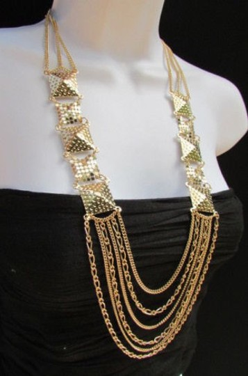 Other Women Fashion Necklace Gold Mesh Metal Multi Chains Strands Pyramid 17 Drop