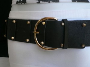 Women Hip Waist Elastic Black Fashion Belt Gold Studds Buckle 23-30
