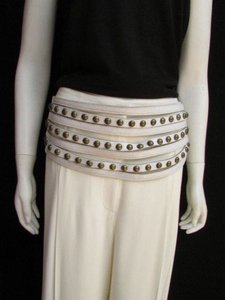 Other Women Hip Wide White Western Faux Leather Belt Gold Studs 37-41
