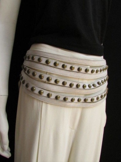 Other Women Hip Wide White Western Faux Leather Belt Gold Studs