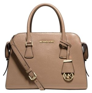 Michael Kors Harper Medium Leather Satchel in Dark Dune