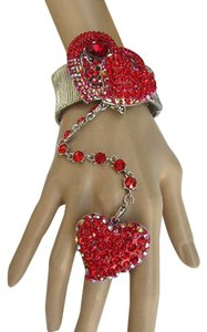 Women Silver Slave Big Heart Ring Love Bracelet Coneccted Red Rhinestones