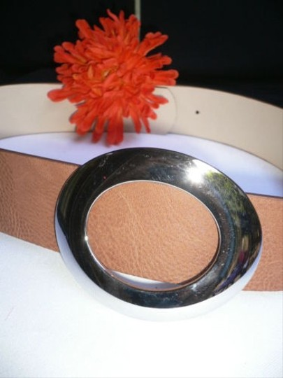 Other Women Hip Waist Brown Faux Leather Belt Big Silver Buckle