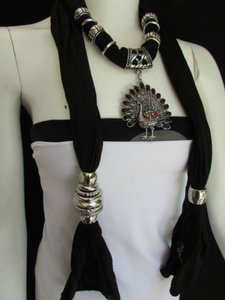 Other Women Soft Fabric Black Scarf Peacock Pendant Rhinestones