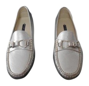 Ralph Lauren Collection Dasita Comfortable Woman's Loafer Made In Italy Silver Flats