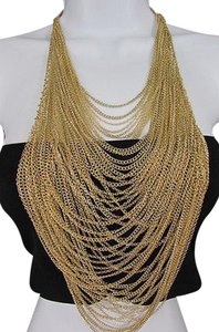 Women 18 Long Gold Multi Waves Strands Chains Fashion Necklace Earrings