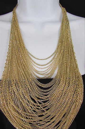 Other Women 18 Long Gold Multi Waves Strands Chains Fashion Necklace Earrings