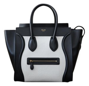 Céline Celine Luggage Tote in Black and White