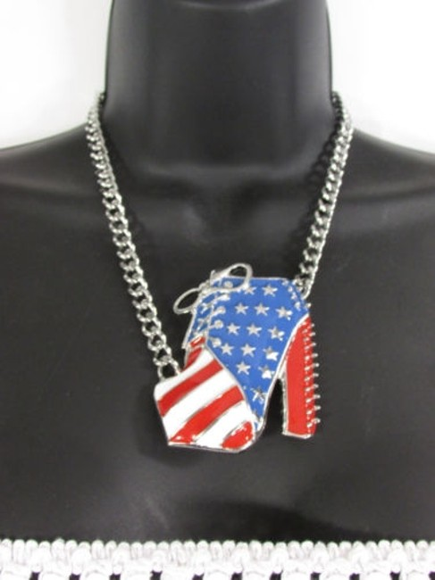 Women High Heels Shoes Chains Fashion Necklace Gold Silver American Flag Usa Women High Heels Shoes Chains Fashion Necklace Gold Silver American Flag Usa Image 1