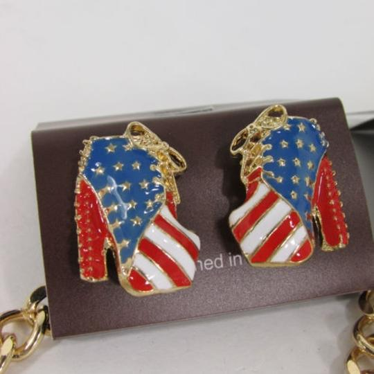 Other Women High Heels Shoes Chains Fashion Necklace Gold Silver American Flag Usa