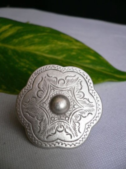 Other Women Silver Metal African Trible Round Shiled Fashion Ring Adjustable