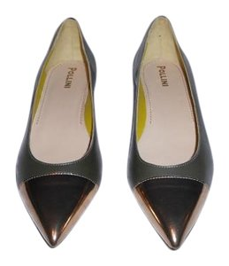 Pollini Designed Elegant Sleek Made In Italy Bronze/Green Flats