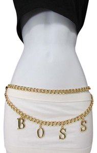Other Women Gold Thick Metal Chains Fashion Belt Hip Waist Big Boss S M L Xl 25-40