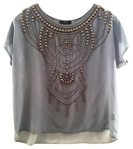 Top Fabric: Blue/Grey Studs: Silver
