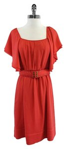 Shoshanna short dress Orange Belted Flutter Sleeve on Tradesy