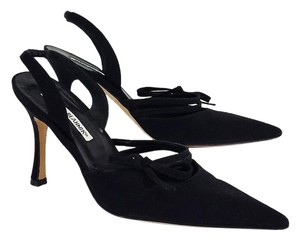Manolo Blahnik Black Fabric Pointed Toe Bow Slingbacks Sandals