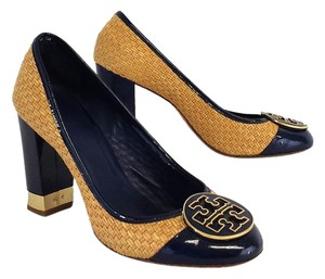 Tory Burch Navy Patent Leather Gold Pumps