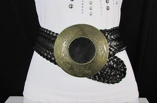 Other Women Black Braided Hip Moroccan Fashion Belt Big Round Buckle 30-34 M