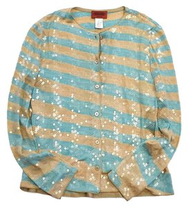 Missoni Turquoise Tan Sequined Striped Cardigan