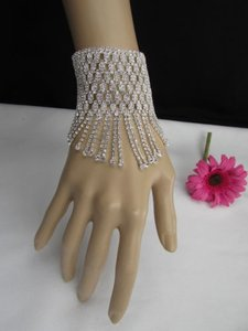 Other Women Silver Long Mesh Metal Hand Dressy Wide Bracelet Rhinestones