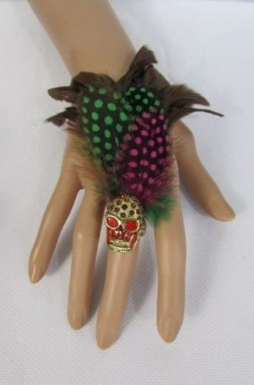 Other Women Long Feathers Metal Skull Fashion Ring Elastic Black Blue Green