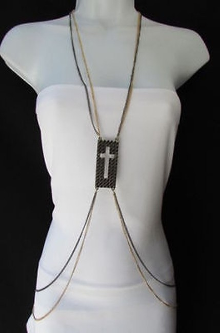 Women Pewter Gold Fashion Body Chain Necklace Metal Chains Cross Pendant Women Pewter Gold Fashion Body Chain Necklace Metal Chains Cross Pendant Image 1