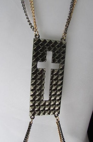 Other Women Pewter Gold Fashion Body Chain Necklace Metal Chains Cross Pendant