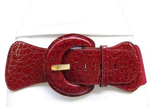 Other Women Fashion Stretch Belt Dark Red Burgundy Low Hip High Waist Faux Leather