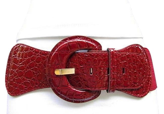 Red Women Dark Burgundy Low Hip High Waist Faux Leather Size S/M Belt Red Women Dark Burgundy Low Hip High Waist Faux Leather Size S/M Belt Image 1