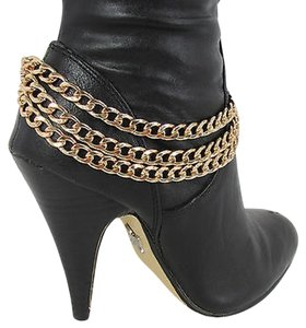 Women Fashion Boot Chain Bracelet 3 Gold Metal Chunky Strands Shoe Strap Charm