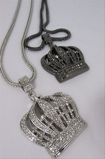 Other Men Metal Chains 35 Long Necklace Silver Pewter King Crown Pendant