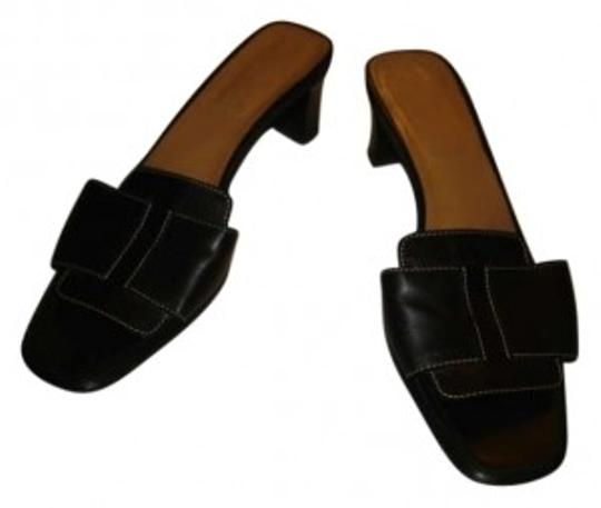 Hermès Black with leather 'h' strap Sandals