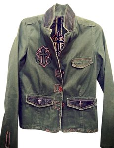 JADED BY KNIGHT Military Leather Crosses Cropped Unique Military Jacket