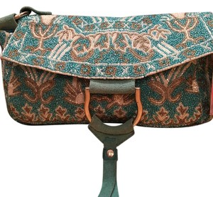 Christiana Satchel in Exquisite NEW Teal/Silver hand beaded Evening Bag with Suede Straps