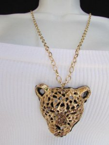 Other Women Gold Fashion Long Necklace Panther Tiger Head Pendant Rhinestones Gems